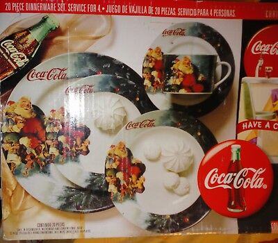 New Boxed 1997 Coca Cola Gibson Christmas 20 Plates Bowls Cups Saucers Elves