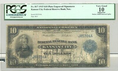 Fr. 817 Kansas City, MO issued $10 Series 1915 Federal Reserve Bank Note Rare!