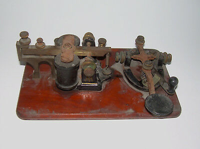 Antique Telegraph Key and Sounder Brass Cast Iron Steel Wooden Base 5 Ohms