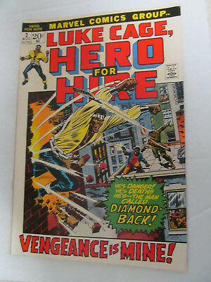VINTAGE 1972 MARVEL COMICS LUKE CAGE HERO FOR HIRE VOL 1 NO. 2 COVER IS 20 cents