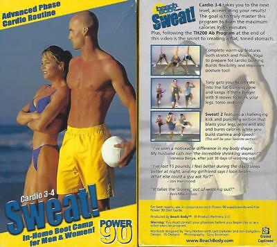 POWER 90 SWEAT 1-2, 3-4 Beachbody Workout Video Cardio VHS Fitness