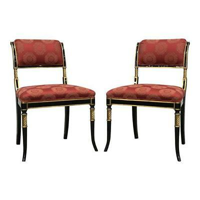Pair of Karges Regency Chairs Chinoserie Fabric