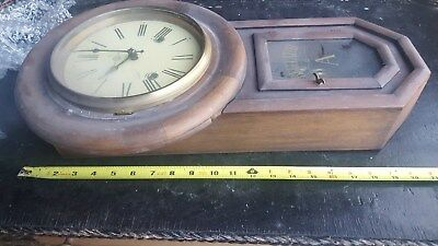Wooden Pendulum Wall Clock With Key Regulator A As Found See Photos Solid