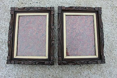 Pair Couple of Antique Picture Frames Frame Sculpted Carved Wood