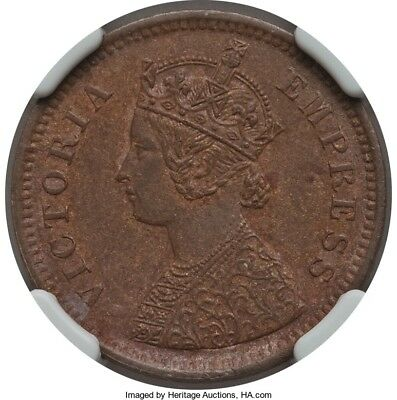 India 1886 Copper 1/2 Pice Coin KM#484 NGC AU-55 BN