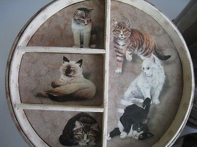 3 Cat Stacking Nesting Storage Boxes Hat Jewelry Trinket Kitty City Edition