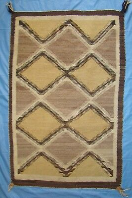 "c. 1900 Navajo Crystal Rug, 51""x 33"" Old Historical Weaving With Big Tassels"