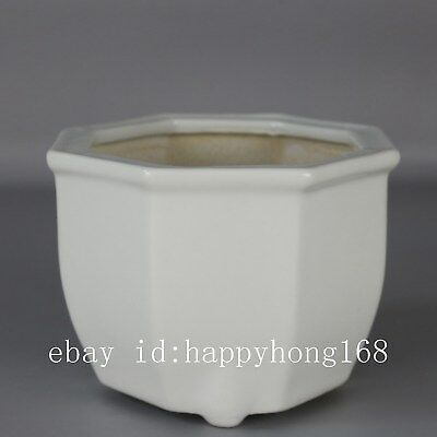 Chinese old hand-carved porcelain white glaze all directions flowerpot H
