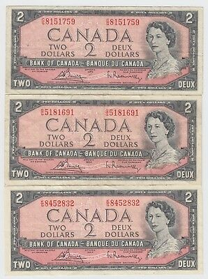 Lot Of 3 1954 Bank Of Canada Two 2 Dollar Bank Notes Nice Bills Different Serial