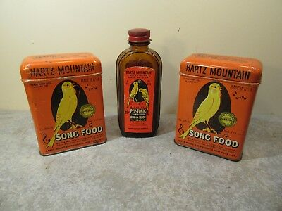 Vintage Hartz Mountain Bird Products Pep Tonic Bottle Song Food Tins OLD