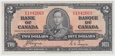 1937 Bank Of Canada Two 2 Dollar Bank Note Cr 1842663 Nice Bill