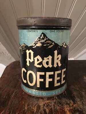 Peak Coffee 1920s Vtg 1930s Tin Litho Coffee Can Mountain Graphics Advertising