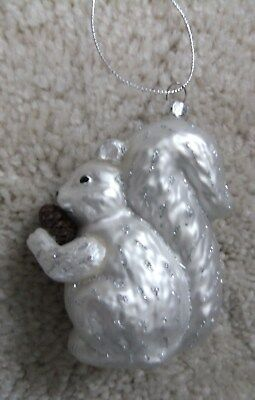 Silver Squirrel Blow Glass Christmas Ornament With Pinecone Animal