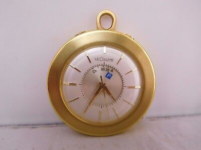 High Quality Vintage Gold Le Coultre Travel Alarm Clock Watch Original Box Runs