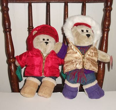 STARBUCKS BEARISTA PLUSH WINTER 2 BEARS 2006 Boy Girl with tags