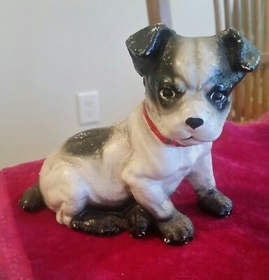 Antique Cast Iron Hubley Boston or Fox Terrier Dog Vintage Coin Bank Puppy Old