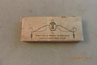 Antique Steel engraving print block To wish you a Christmas and A Happy New Year