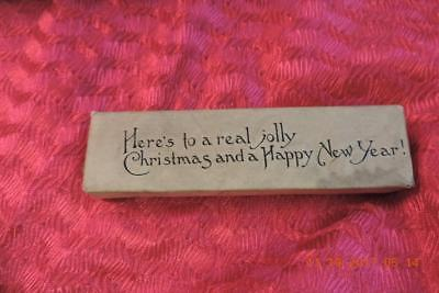 Old engraving print block Here's To A Real Jolly Christmas and A Happy New Year