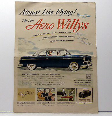 Vintage 1952 Magazine Color Print Ad, Aero Willys Cars, Willys-Overland Motors