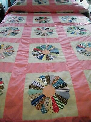 Vintage Dresden Plate Quilt Top Made From Feedsack Fabric Hand Sewn 92x78