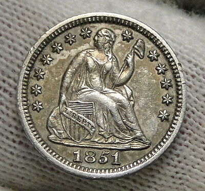 1851 Seated Liberty Half Dime H10C No Drapery - Nice Coin, Free Shipping (6265)