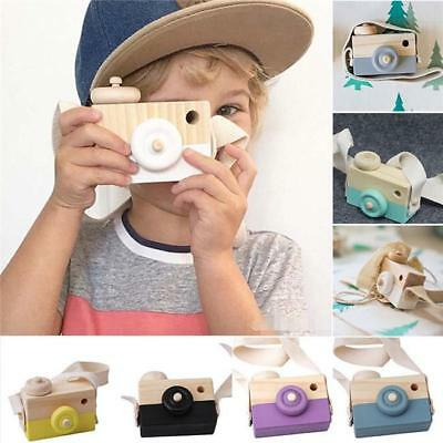 Wooden Camera Kids Toy Baby Gift Children Wood Neck Decor Room Photography NEW S