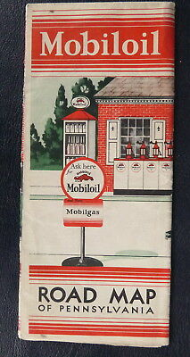 1930 Pennsylvania road map Mobilgas  Vacuum  oil  gas Mobil Gargoyle
