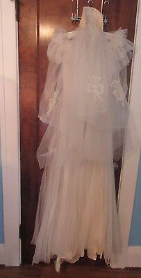 Vtg 30's Lovely Frilly Tulle Wedding Gown w Beautiful Embroidered Veil