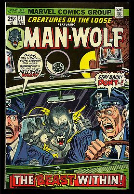Creatures on the Loose #31 Very High Grade Man-Wolf Marvel Comic 1974 NM