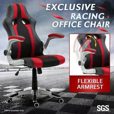 Executive PU Leather Gaming Racing Office Chair Ergonomic Computer Desk Seat Red