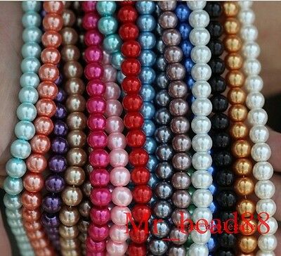 Wholesale Lots Mixed Colorized Round Glass Pearl Loose Spacer Beads 3/4/6/8/10mm
