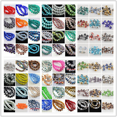 50Pcs 8x6mm Rondelle Crystal Faceted Glass Beads Loose Spacer Bead Findings