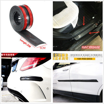 DIY Carbon Fiber Style Scuff Plate Door Sill Cover Panel Step Protector For Car
