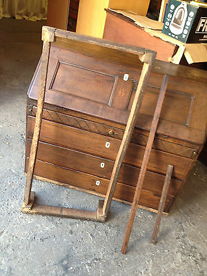 Vintage 18th Century Carved Oak Writing Bureau in Distressed Condition  Antique