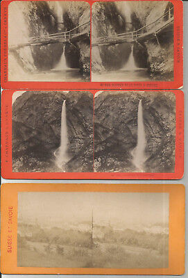 1870 - Stereo-Photographie: SUISSE & SAVOIE (Annecy,Gorge Dioza) Phot. Charnaux
