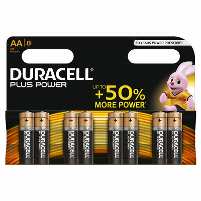 Duracell Plus Power AA Batteries Duralock LR6 MN1500 Alkaline Battery Pack of 8