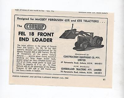 Conquip Fel 18 Loader Massey Ferguson Tractor Advertisement Farming Magazine