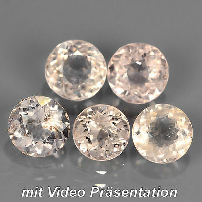 3.40 ct. 5 St. unbeh. runde Light Orange- Rosa Afrika Morganite (Pink Smaragd)