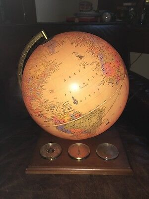 Cram's Antique World Globe Light Up on Wood Base w/ Thermometer Barometer Etc