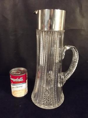"""American Brilliant 12"""" Tall Cut Glass Pitcher With Sterling Silver Rim"""