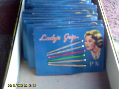 Vintage Lady's Grip 6 Piece Colored Bobby Pins on Card NOS Lot 2 FREE SHIP (*)