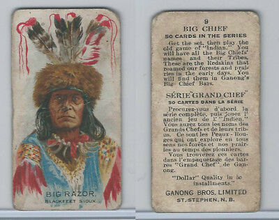 V118 Ganong Bros., Big Chiefs, Indians, 1939, #9 Big Razor, Sioux