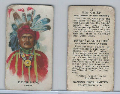 V118 Ganong Bros., Big Chiefs, Indians, 1939, #13 Deer Ham, Ioway