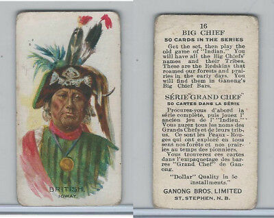 V118 Ganong Bros., Big Chiefs, Indians, 1939, #16 British, Ioway