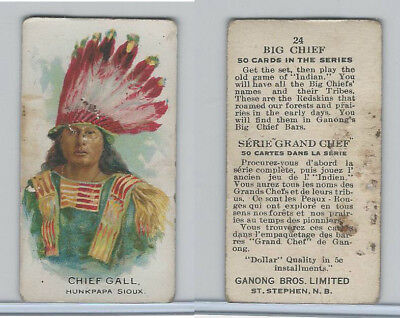 V118 Ganong Bros., Big Chiefs, Indians, 1939, #24 Chief Gall, Sioux