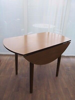Vintage Fortress Drop Leaf Kitchen Dining Table 105 cm Round Wood Grain Formica
