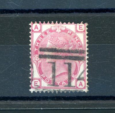 Great Britain Victoria  3d Rose  (SG 144)  Plate 17  fine-used    (N1296)