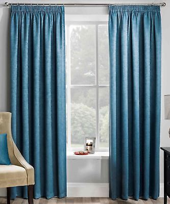 Matrix Thermal Lined Tape Top Curtains Ready Made Pencil Pleat Pairs Teal Blue