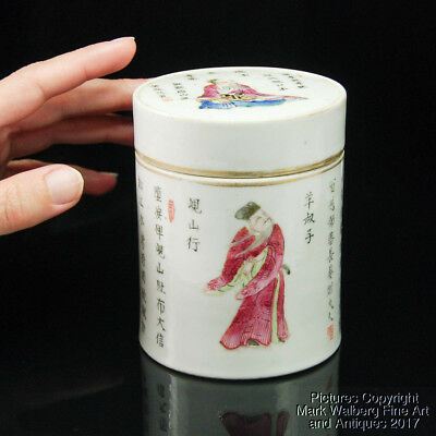 Chinese Famille Rose Porcelain Cylindrical Box, Calligraphy & Figures, 19/20h C.