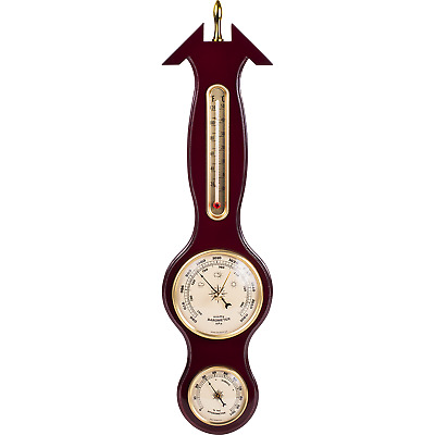 Banjo Barometer Weather Station Sheraton Wood Mount With Mahogany Finish New